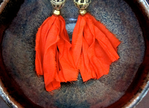 Tangerine Silk and Brass Earrings 3.25 inches on dark tray