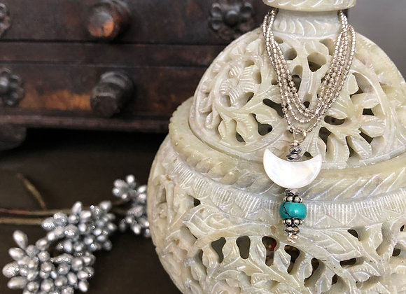 Wander with Me Turquoise Moon Necklace