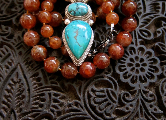 Antique Silver Dorje with Tuquoise on Hessonite Gemstones Necklace
