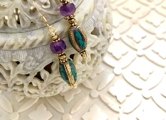 Earrings of Amethyst on brass bead with turquoise inlay 1.5 in