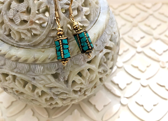 Barrel Turquoise mosaic Earrings on tray