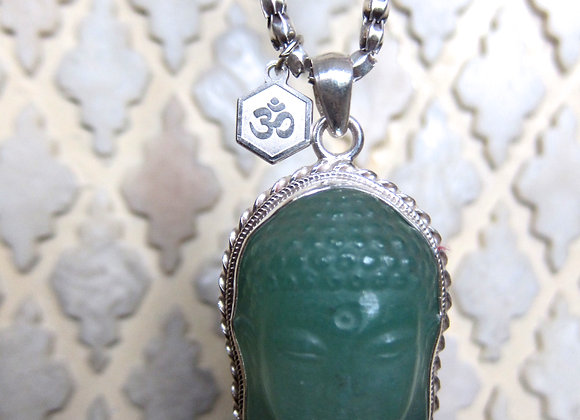 Pure Silver Chain with Carved Green Adventurine Buddha Necklace