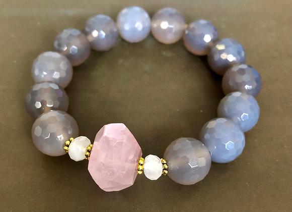 Gray Agate large stone Stretch Bracelet by Breathe Deep Designs