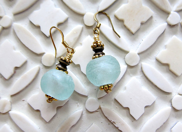 Light Blue Ghana Glass Earrings 1.25 Inch