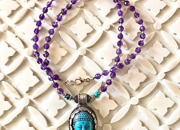 AMETHYST AND TURQUOISE BUDDHA HEAD NECKLACE BY BREATHE DEEP DESIGNS