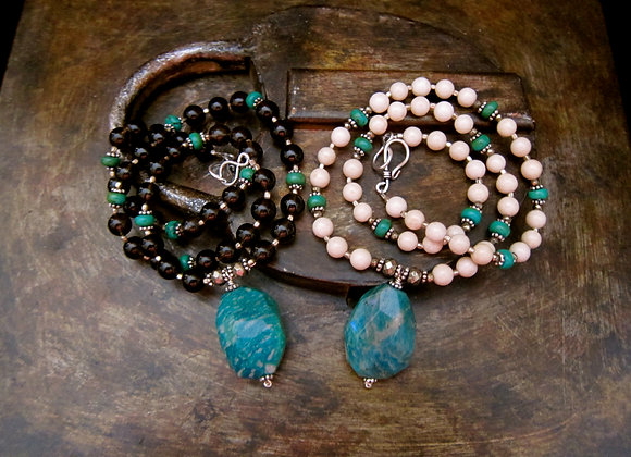 Russian Amazonite and Smokey Quartz with sterling silver and Turquoise Necklace