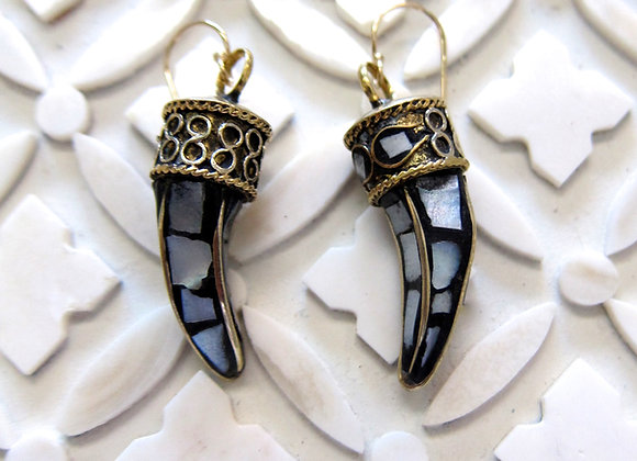 Gold and Brass Tusk with Mother of Pearl Inlay Earrings