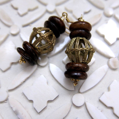 Tribal Earrings Bone and African Brass 2 inches