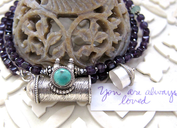 Turquoise sterling silver Mantra Prayer Container Necklace 20 inches with hematite seed beads