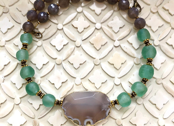 Upcycled Ghana Glass and Agate Necklace