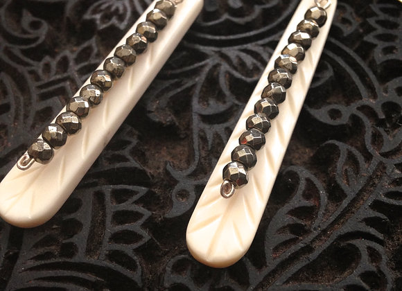 Hand Carved Feather with Pyrite Gemstone Earrings 2.5 inches long