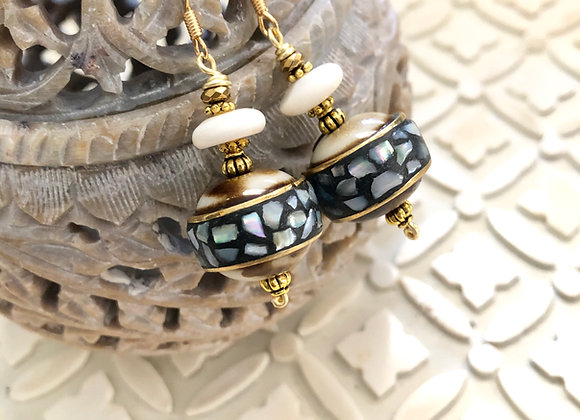 Shell Beaded Earrings with Mother of Pearl inlay 1.5 inches brass hooks