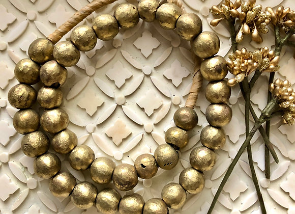 Bohemian Luxe Living African Brass Beaded Garland from Ghana