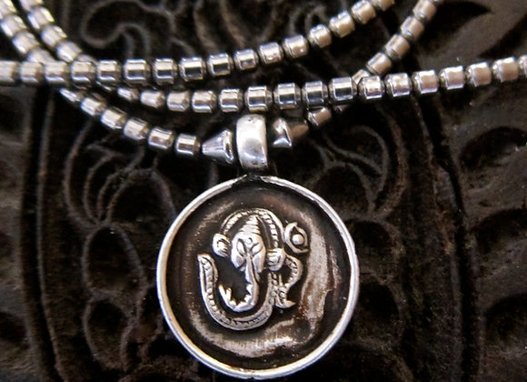 Sterling silver Ganesha On Om Pendant with Hematite Necklace