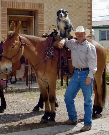 Jayme, Big Mama, and Woof riding into Victor, Idaho to get a huckleberry milkshake. Big Man tied to the dumpster.