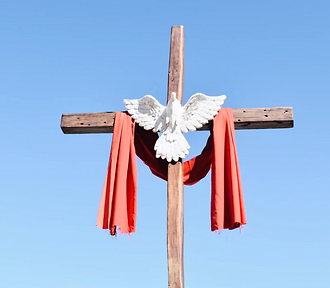 A cross with the dove of peace