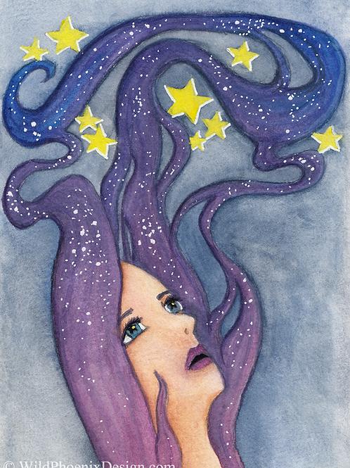 Galaxy Dreamer - Original Gouache Painting