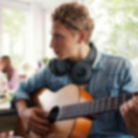 Play guitar with HS3 Bluetooth headphone
