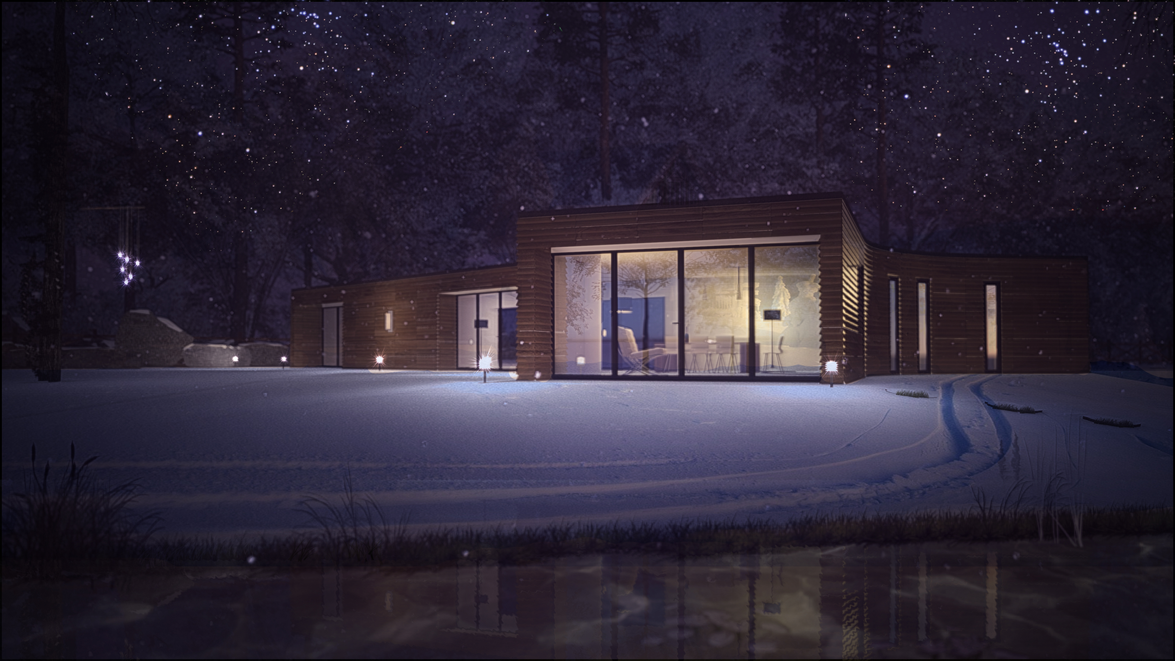 Woodland Lodge - Night View