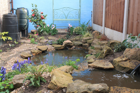 Paved Garden Redesign & Pond
