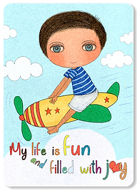 My life is fun and fill with joy, children affirmation cards, self-love cards for kids, happy little boy illustrations