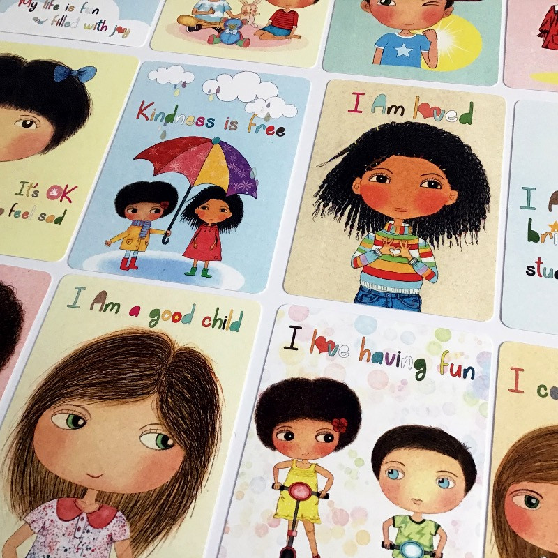 Affirmation cards for kids, affirmations, what are affirmations, positive affirmations, positive cards, mindfulness, mindful kids, parenting resources, classroom resources, happy kids affirmation cards, little curly