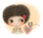 Little Curly all about love, friend forever, cute cat, illustrations, love, friendship, love heart, curly hair girl
