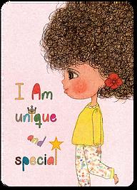 Happy Kids Affirmation Cards for children, Daily Affirmations for kids, I Am Affirmation Cards, Little Curly, I am unique cards, Self-esteem cards for girls, Children illustrations,