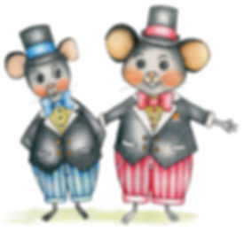 Little Curly, cute rats, mouse, dressed in tuxedos, illustrations, children's book, ella parry, illustration book, the amazing adventures of Summe and Little Curlu