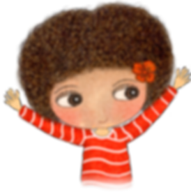 Little Curly, Happy Kids, Happy Kids affirmation cards, cute girl, funny little girl, red top, curly hair, smile, happiness, children's illustrations