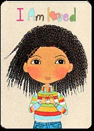 Happy Kids Affirmation Cards for children, I am Loved affirmation Cards, Kind words for kids, I am affirmation Cards for kids, Positive Practice cards, Little Curly, Little Alfo girl, Positive affirmations