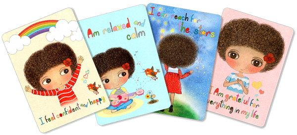 Little Curly, Happy Kids, Happy Kids affirmation cards, positive cards for kids, have a positive day, mindfulness kids