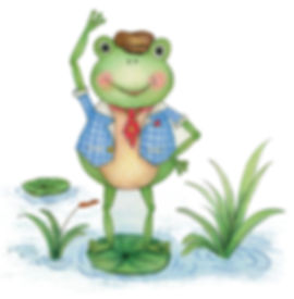 Little Curly, little frog,  children's book, The amazing adventures of Summer and Little Curly, children illustrations, ella parry, cute frog, hand draw animals, colour pencils, character development, whimiscal art