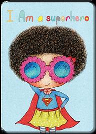 Happy Kids Affirmation Cards for Kids, Positive Cards for children, Daily Affirmation Cards for toddies, I am a superhero card, I am Affirmation cards, Little Curly, Supergirl illustration, Mindfulness cards
