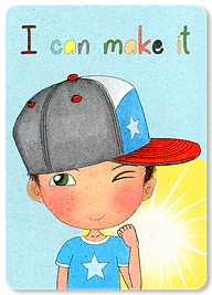Happy Kids Affirmation Cards, Children's Affirmations, Positive Affirmation Cards for children, Daily Affirmations, I Am Affirmations, I can make it, well-being flash cards, Little Curly
