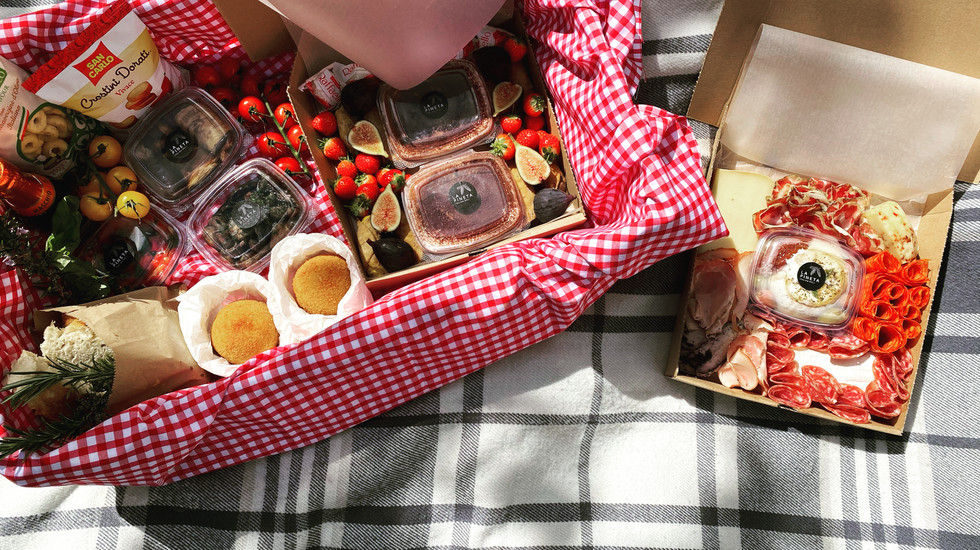 A gourmet anniversary picnic box assembled for some special clients of Cotton & Coast.