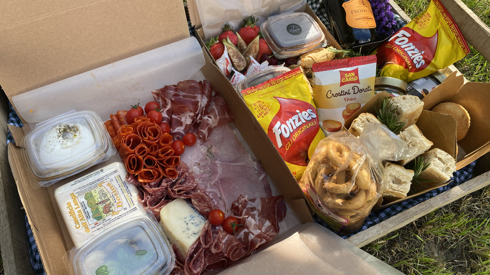 An anniversary box put together for a special couple.