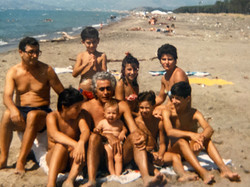 family gathering at the beach