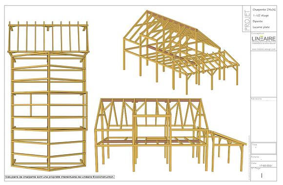 Plans CHARPENTE 24'x36' Bipente Lucarne plate