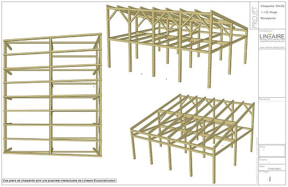 Plans CHARPENTE 30'x36' Monopente Demi-mezzanine