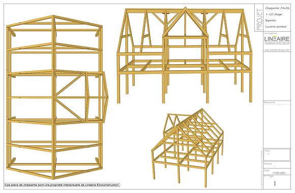 Plans CHARPENTE 24'x36' Bipente Lucarne pignon