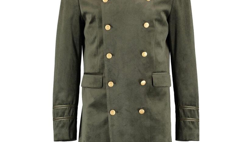 DEVIL'S ADVOCATE Olive Green Velvet Military Jacket