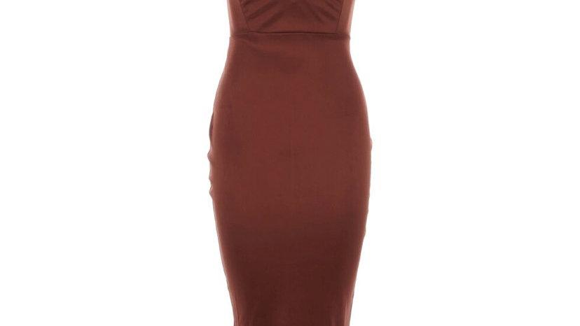 OH POLLY Brown Satin Midi Dress