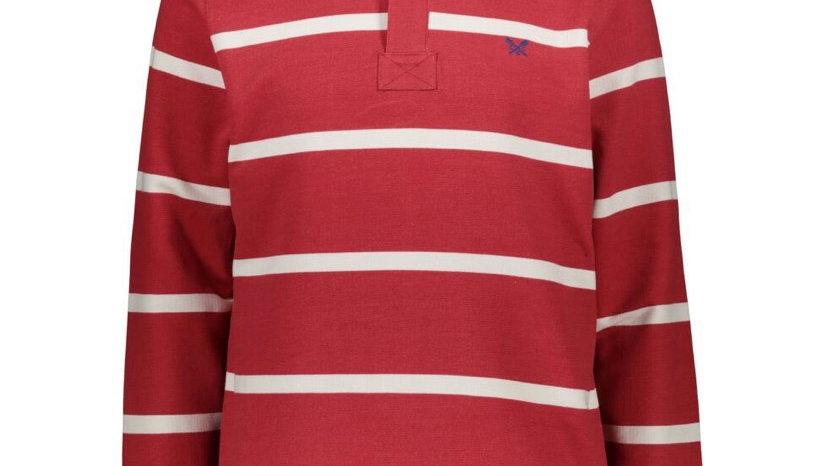 CREW CLOTHING CO. Red & White Striped Zip Neck Sweatshirt