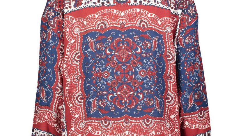 OUI Red & Blue Floral Tie Blouse
