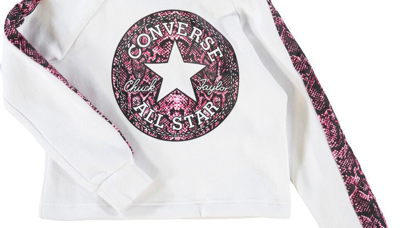 CONVERSE White Reptile Print Logo Pullover Sweatshirt