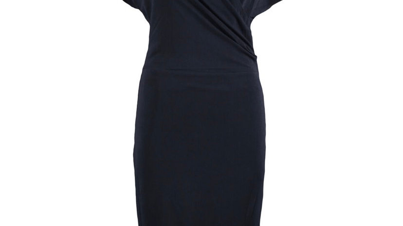 MARLENE BIRGER Navy Frill Midi Dress