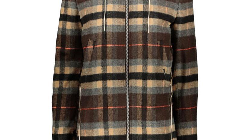 GAZZARRINI Brown Checked Hooded Jacket