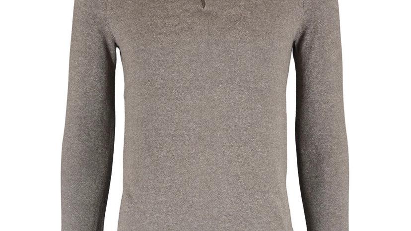SKOVDE Grey Knit Polo Neck Jumper