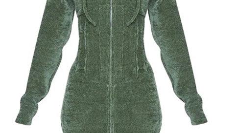 Rib Velour Corset Detail Hooded Bodycon Dress (Khaki)